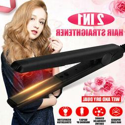2 in 1 Dry/Wet Steam Hair Straightener Curly Hair Ionic Flat