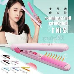 2 In 1 Pro Hair Straightener Styler Curling Curler Flat Iron