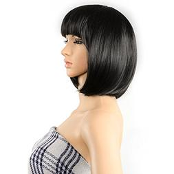 "AGPtEK 13"" Straight Heat Resistant Short Bob Hair Wigs with"