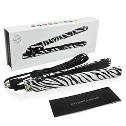 Herstyler White Zebra Ceramic Flat Iron,Dual Voltage,1.25 In