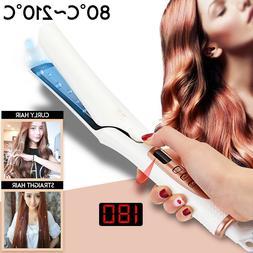 LCD 4D Ceramic Hair Straightener Curly Curler Flat Iron 14W