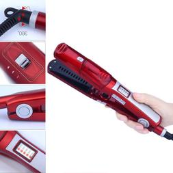 Professional Ceramic Vapor Steam Hair Straightener Brush Fla