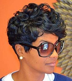 RUISENNA Afro Curly Hair Wigs for Black Woman Short Kinky Ha