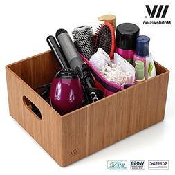 MobileVision Bamboo Bathroom Bin Organizer for Toiletries, M