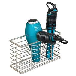 mDesign Farmhouse Metal Wire Bathroom Wall Mount Hair Care &