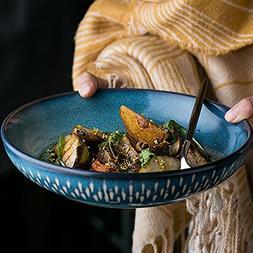 Blue soup plate deep dish dessert plate ceramic fruit salad