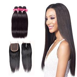 Brazilian Straight Hair 3 Bundles With Closure, Human Hair 3