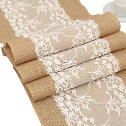 DegGod 12X108 Inches Natural Burlap Lace Hessian Table Runne