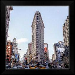 flat iron building black framed art print