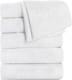 Bedding Flat Sheet 6 Pack Combed Cotton Blend - Soft, Breath