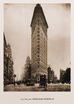 Flatiron Building, New York, 1910. Black & White Sepia Photo