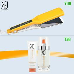 GKhair One Control Titanium Flat Iron Hair Straightener Dual