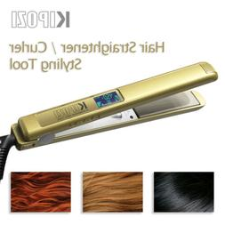 Gold KIPOZI Titanium Flat Iron Straightener Curling All Hair