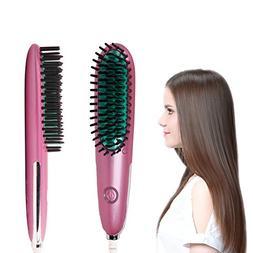 REAK Hair Straightener Brush, Fast Heating, Anti-Scald ,Mini