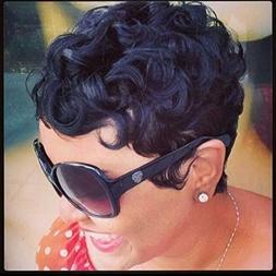 RUISENNA 100% Human Hair Short Curly Wigs For Black Women Pi