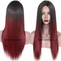 Goddess Human Hair Straight Full Lace Wig 100% Real Brazilia