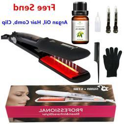 Infrared Hair Straightener Salon Steam Ceramic Flat Iron + A
