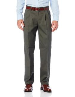 Lee Men's No Iron Relaxed Fit Pleated Pant, Olive, 30W x 32L