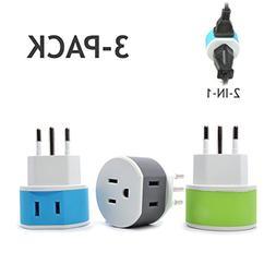 OREI Italy, Uruguay Travel Plug Adapter - 2 USA Inputs - 3 P