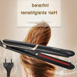 KEMEI 2 in 1 Infrared Flat Iron Hair Straightener Curler Cer