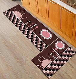 Homcomoda Kitchen Rugs 2 Piece Set Non-Slip Kitchen Mat and