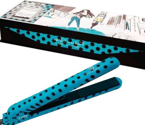 1 25 diamond flat iron turquoise polka