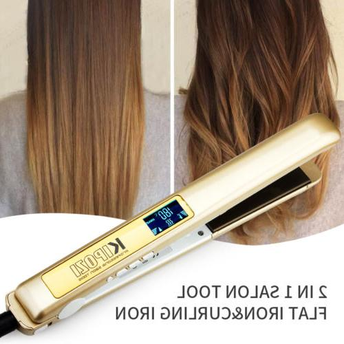 2 in 1 KIPOZI Pro 1 Inch Flat Iron Hair Straightener with Ti