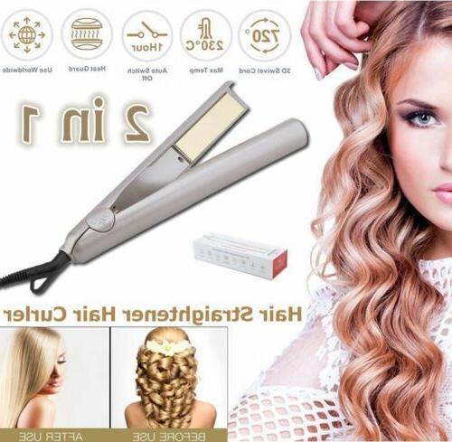 360° 2 In 1 Vapor Hair Straightener Flat Iron Curler Pro Ce