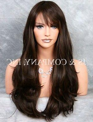 Heat Resistant Flat Iron SAFE Long Wavy Wig WBKT 4-27 Brown
