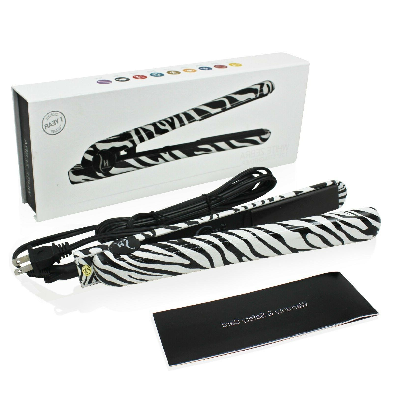 Herstyler White Zebra Ceramic Flat Iron, Dual Voltage,1.5 In