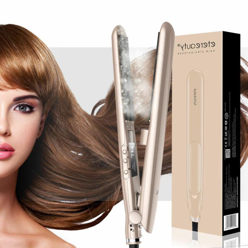 Pro Ceramic Hair Salon Flat Iron Steam Styler Hair Straighte