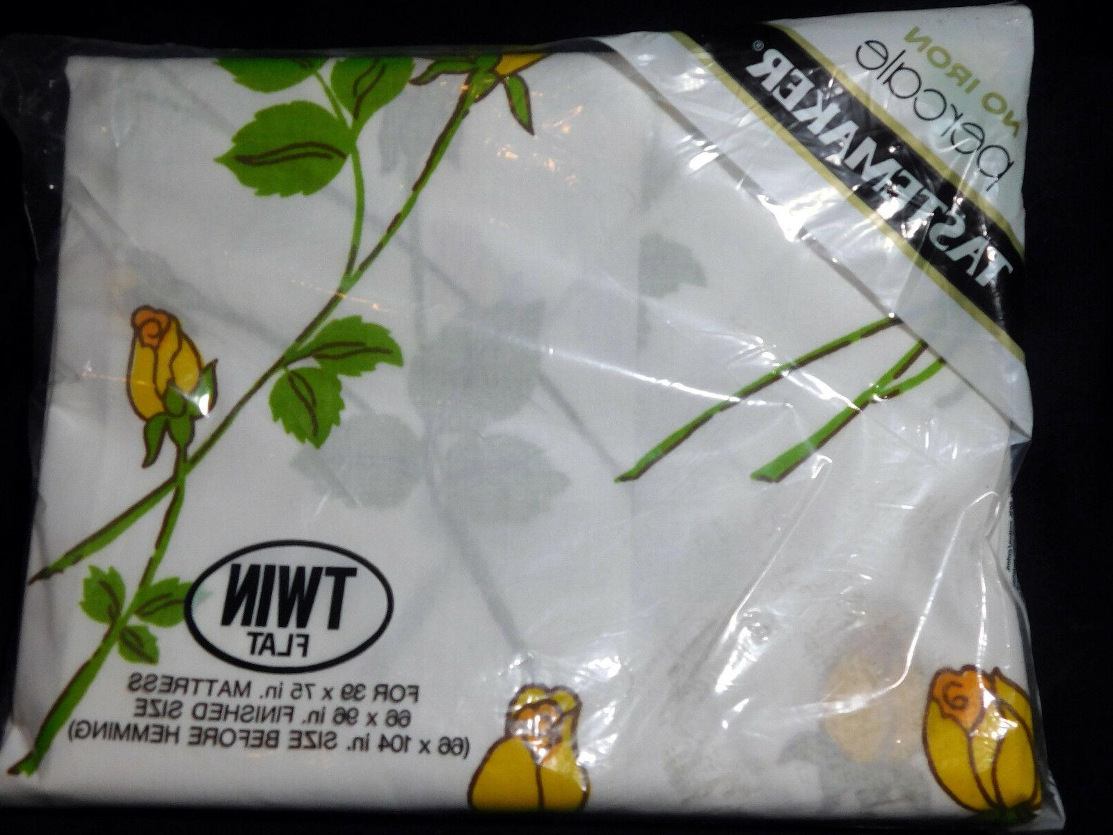 Vtg Percale Fitted Flat Sheet NEW Yellow Empress Rose Tastem