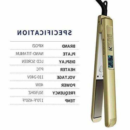 Hair Straightener Titanium Flat Iron 450℉ Salon High Heat