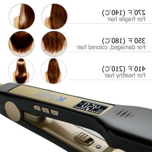 KIPOZI Hair Flat Iron 1.75 Inch Wide Plade Black