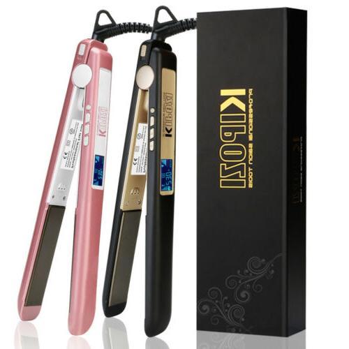 KIPOZI 2 In 1 Hair straightener 1 Inch Titanium Plates Flat