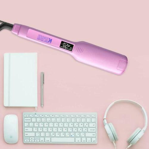 KIPOZI Hair Iron Inch LCD Pink