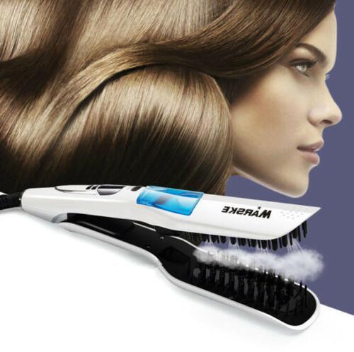 LCD Ceramic Hair Straightening Straightener Brush Flat Iron