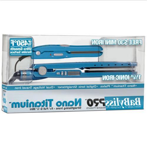 BABYLISS NANO 450 LED 1.25 BLUE FREE IRON SET