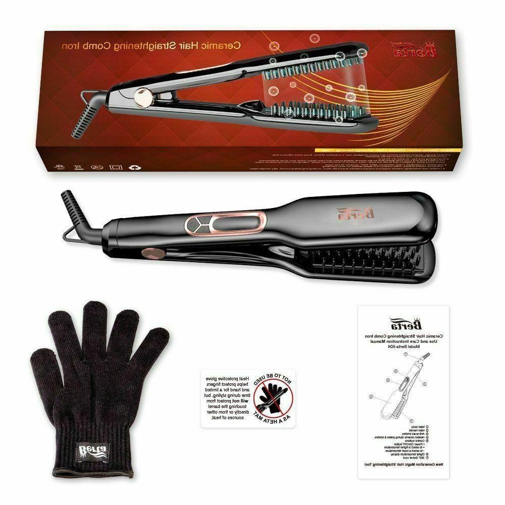 NEW- Berta Ceramic Hair Straightening Brush Comb Clamp, Flat