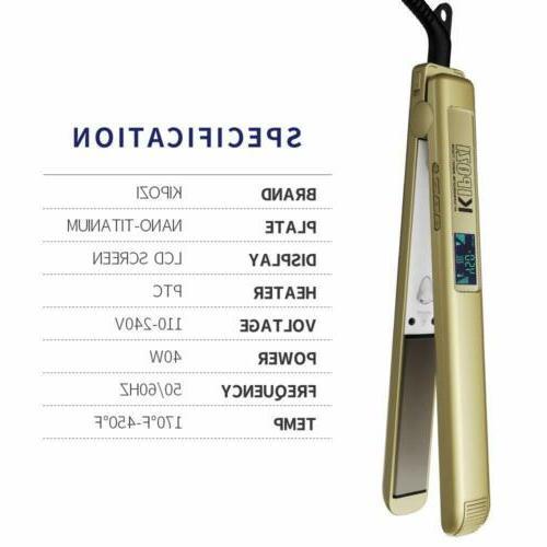 KIPOZI Salon Pro Flat Iron 1 Inch Gold