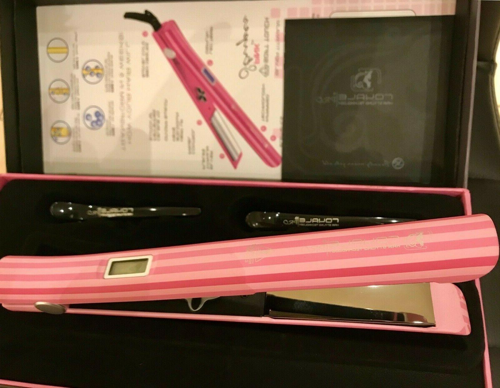 smart digital pink stripes titanium flat iron