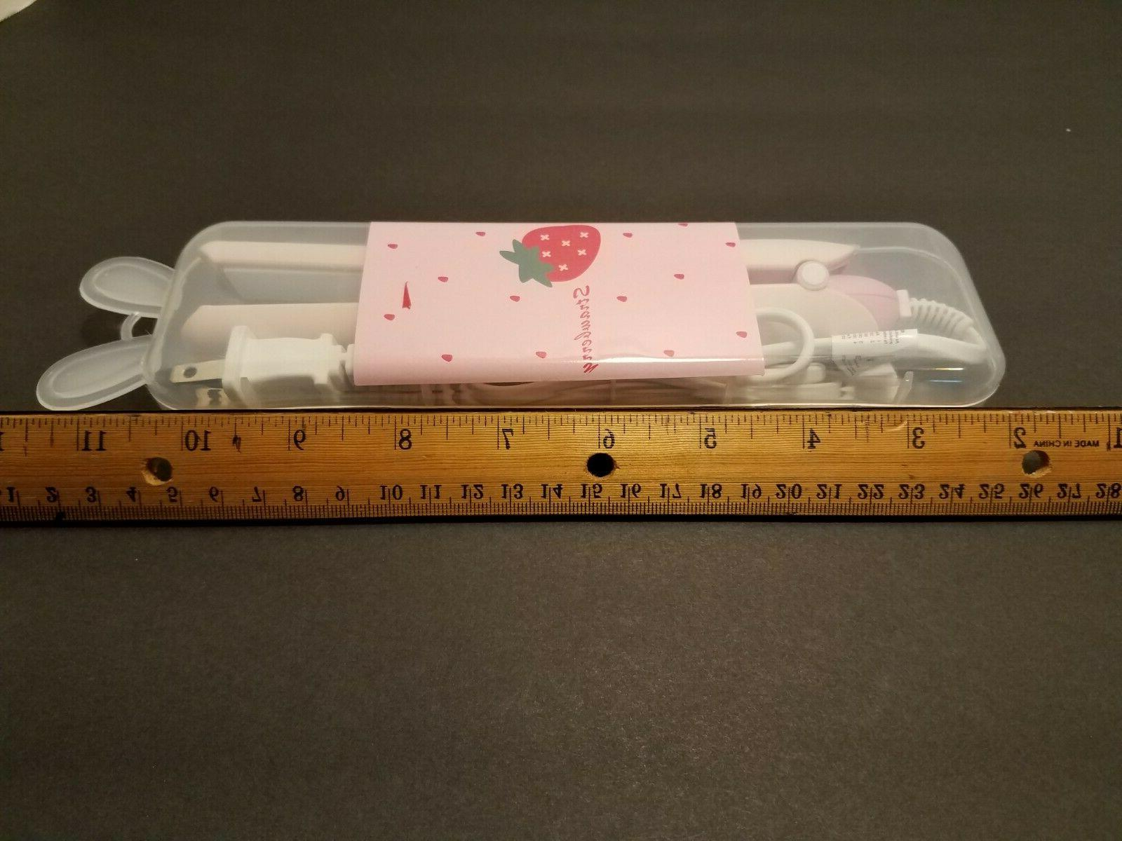 TRAVEL FLAT IRON/ Strawberry print/ case/ &