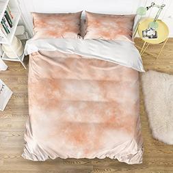 Lightweight Bedding 4 Piece Rose Gold Flashing Marble Duvet