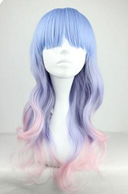 Fashion Women Long Multicolor Wavy Harajuku Style Cosplay Wi
