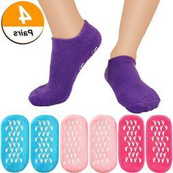 Bememo 4 Pairs Moisturizing Gel Socks Soft Spa Gel Socks for