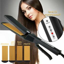Pro 4 in 1 Replaceable Ceramic Curling Flat Iron Hair Crimpe
