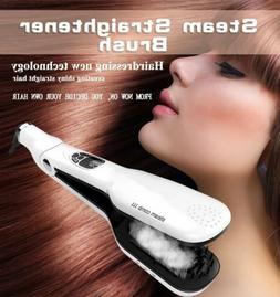 Pro Hair Straightener Steam Brush Flat Iron Comb Haircare St