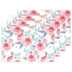 Toddy Astridd Realistic Rose Wallpaper Placemats Heat-Resist