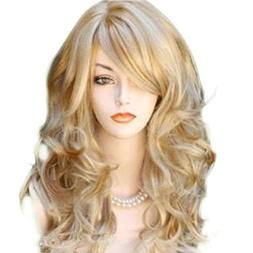 65cm Sexy Golden Blond Long Big Wave Mix Full Volume Curly W
