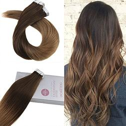 Moresoo 14 Inch Tape in Remy Human Hair Extensions Silky Hai